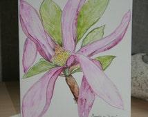 Magnolia Flower - 'susan' original art watercolour card with envelope