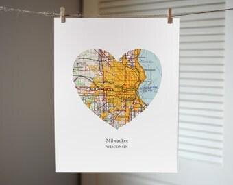 Milwaukee Wisconsin Heart Map Print, Wisconsin State Art, Custom City Print, Milwaukee Map Art
