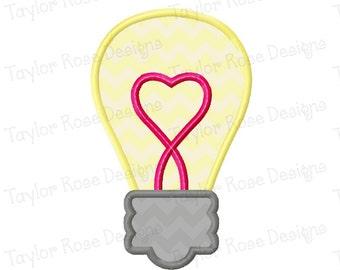 Heart Light Bulb Applique Machine Embroidery Design 4x4 5x7 6x10 Valentine Valentine's Day Love INSTANT DOWNLOAD