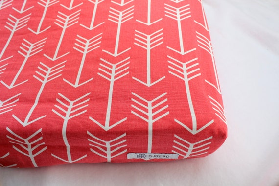 coral arrows changing pad cover woodland nursery decor. Black Bedroom Furniture Sets. Home Design Ideas
