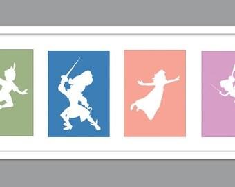 4 Peter Pan / Tinker Bell Character Silhouettes for Nursery/Boys Nursery/Girls Nursery/ Wendy/Captain Hook/Tinker Bell - Set of 4 - 5x7s