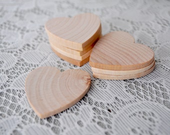 "25 ct Small 1.5 INCH x 0.25"" thick Wood Hearts Natural Wooden Hearts 1/4"" thick Wedding Craft Hearts Centerpieces Favors 1.5"" hearts"