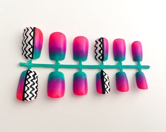Ombre Fake Nail Set, Tribal False Nails, Bright Acrylic Nails, Aztec Nail Art, Nail Stickers, Press On Nails - Glue On Nails, Nail Decals