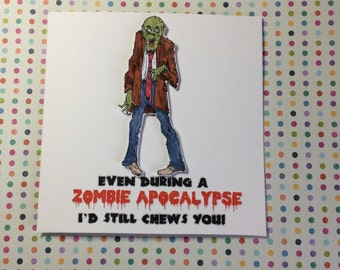 Valentines Day Card, Zombie Card, Funny Zombie Card