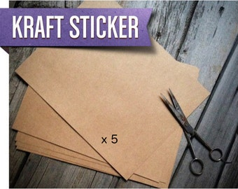 Make your own Kraft Stickers! | Brown Kraft Adhesive Sticker Paper (Quantity 5)