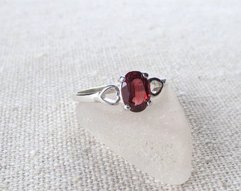 R83 Rare Red Orange Citrine Ring set in Sterling Silver Gorgeous- One of a Kind