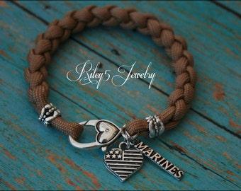 Bracelet Marine Wife / Marine Girlfriend / Marine Mom I love my Military Soldier Paracord bracelet Jewelry