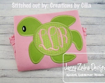 Sea Turtle Monogram Frame Appliqué embroidery Design - Sea turtle applique design