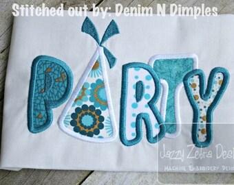 Party word Appliqué embroidery Design - birthday appliqué design