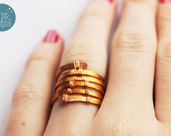 Woven Ring, Bohemian jewelry, woven copper Ring, Gypsy Jewelry,