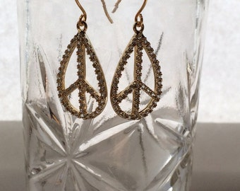 Gold cubic zirconia peace signs