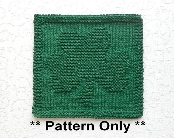 SHAMROCK Knit Pattern Instant Download Knit Dish Cloth