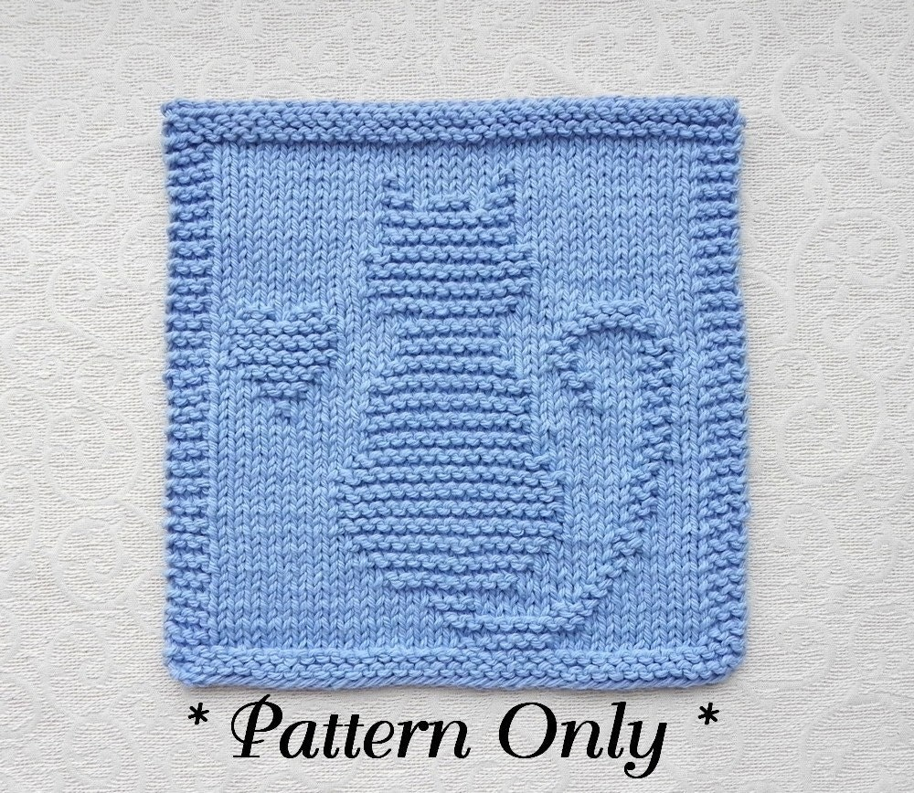 CAT with HEART Knit Pattern PDF Instant Download Quilt