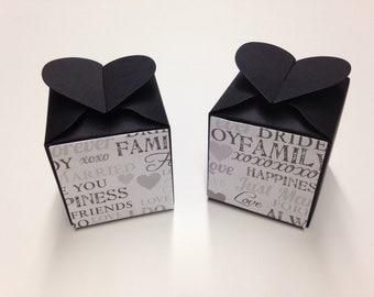 Black Favor Boxes Wedding Favor Boxes Wedding Favors Party Favors Birthday Favors Black Wedding Favor Boxes Wedding Words