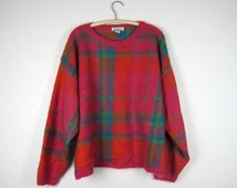 Vintage Slouchy Sweater Mohair Magenta Plaid Women's XL Oversized