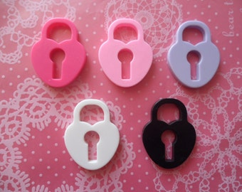 Pastel Heart Lock Kawaii Cabochons 31mm x 23mm - 5pcs