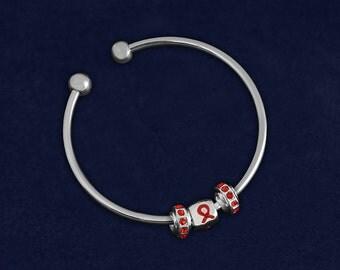 Open Bangle Red Ribbon Bracelet (RE-B-49B-6)