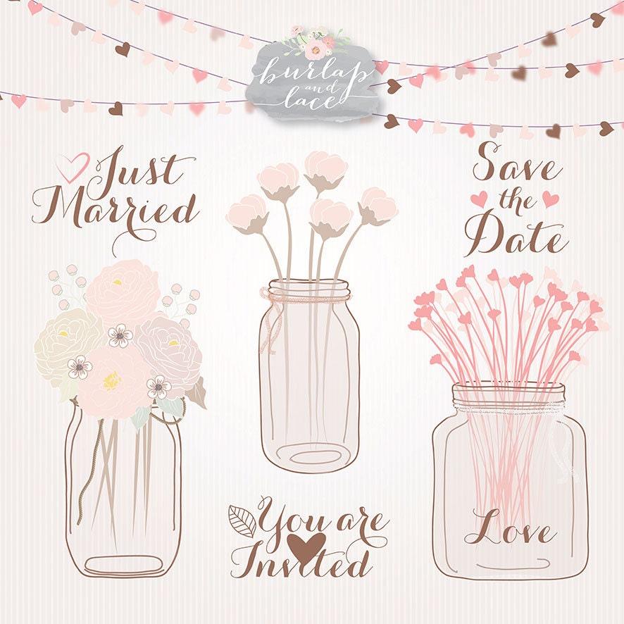 Wedding Gift Clipart Free : Wedding mason jar clipart flower Peonies Clip Art flower