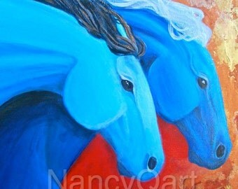 Colorful Running horses painting  by artist, Nancy Quiaoit at Nancys Fine Art.  Fine art Giclee prints.