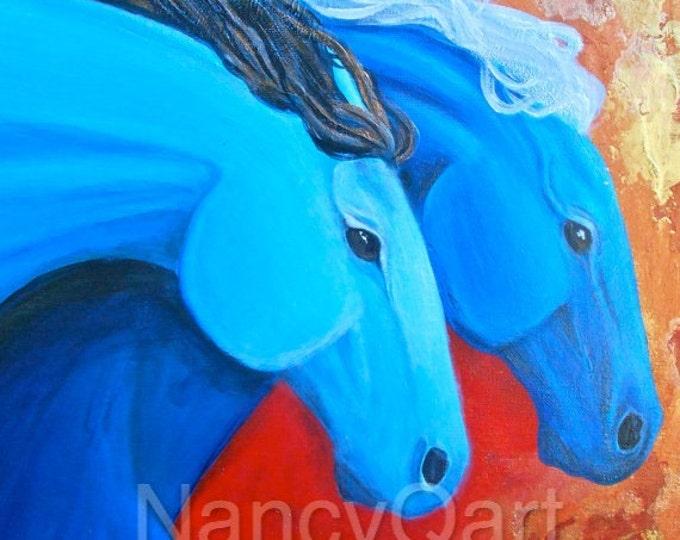 Colorful Running horses painting  by artist, Nancy Quiaoit at Nancys Fine Art.  Fine art Giclee prints.