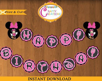 Pink Minnie Mouse Birthday Banner-Happy Birthday Banner -Minnie Decorations-Minnie Mouse Party Banner- INSTANT DOWNLOAD- CraftyCreationsUAE