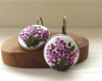 Boho Earrings for Women- Drop Earrings- Dangle Earrings- Best Jewelry for Wife- Romantic Gift Ideas for Wife- Lilac Flower Earrings