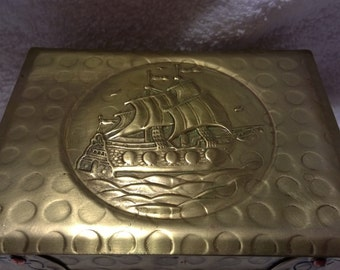 Vintage Brass Colored Metal Box with Ship Design