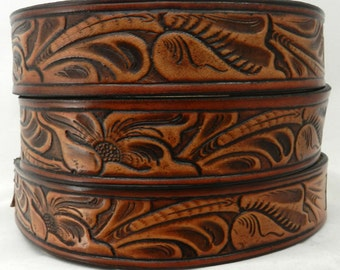 "BT929 Leather 1 1/2"" Belt - Western Carved Design"