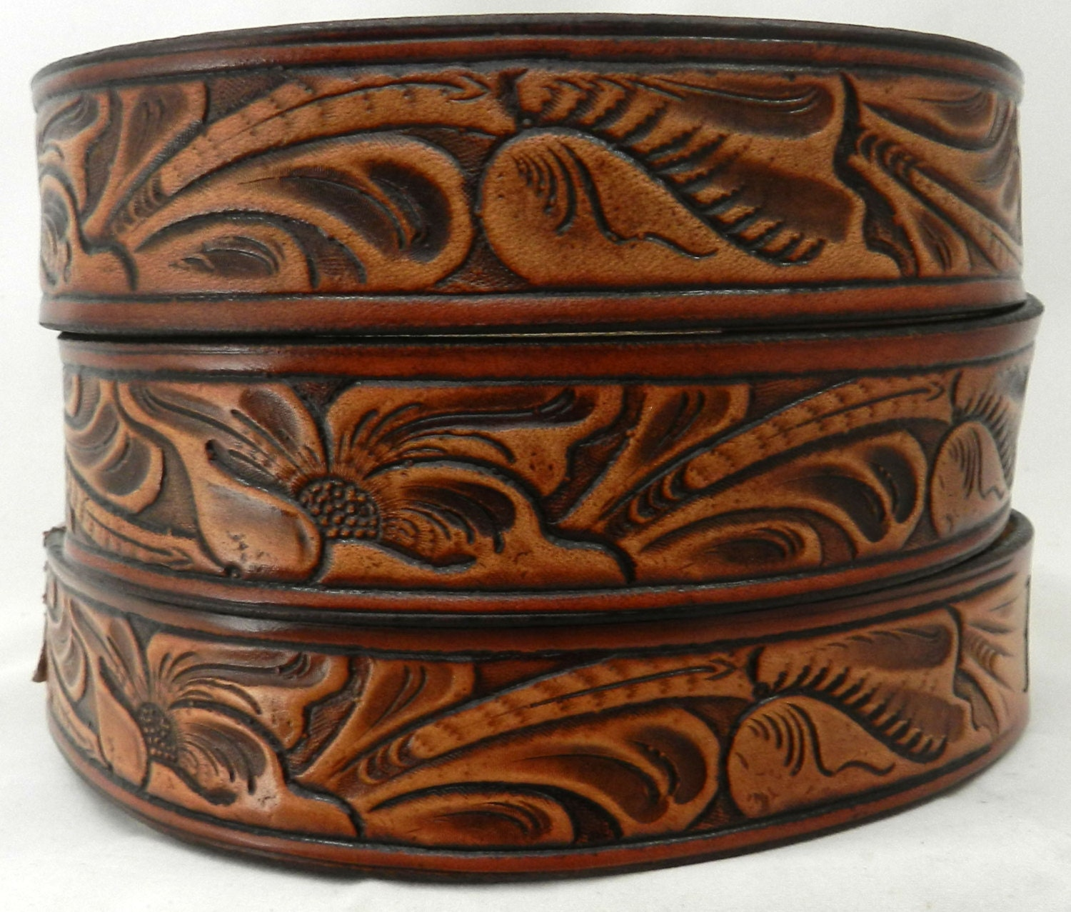 Bt leather belt western carved design