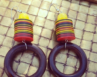 Tribal African Vinyl Disc Bead Earrings
