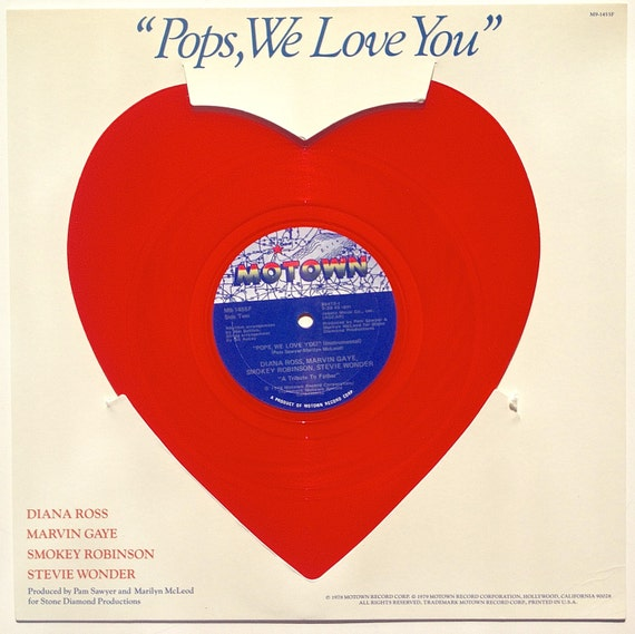 Pops We Love You Heart Shaped Red Vinyl Record Single Motown