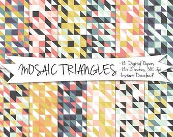 Geometric Digital Paper // Mosaic Triangle Printable Paper // Instant Download Geometric Paper // Triangle Paper // Digital Mosaic Paper