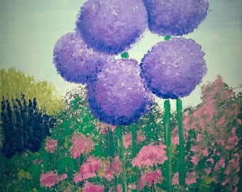 """12"""" x 16"""" Original Painting, Le Jardin Acrylic Painting on Canvas, Ready to Hang"""