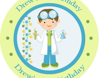 Scientist Science Boy Birthday Party Favors Personalized Stickers Many Sizes
