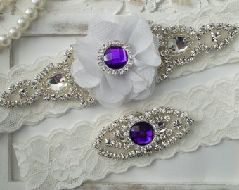 SALE -Wedding Garter Set, Bridal Garter Set, Vintage Wedding, Lace Garter, Purple Wedding, White Bridal Garter - Style 150