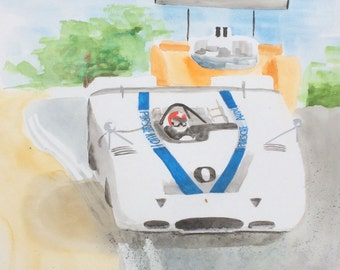 Watercolor Painting of Porsche 917 racing at Laguna Seca