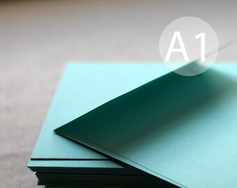 "25 A1 / 4-Bar Aqua Blue Envelopes - 3x5 inches (true size 3 5/8"" x 5 1/8"") - Seafoam green envelopes - Aqua Envelopes"