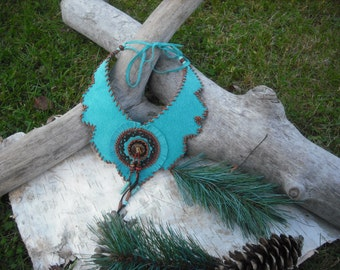 Necklace leather beadwork