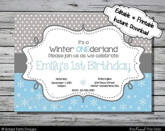 Winter Wonderland Invitation Birthday Party - Editable Printable Digital File with Instant Download