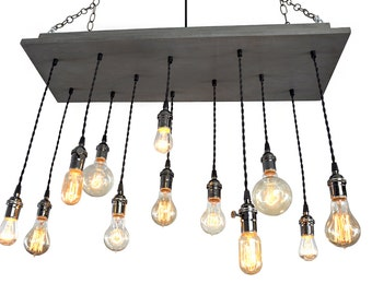 Nostalgic Edison Bulb Chandelier: Industrial Chic Styling with Recessed Frame