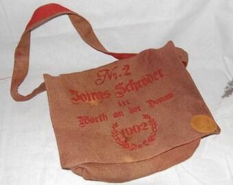 Vintage Style  Burlap Messenger/Computer Bag - Handmade in Yucatan-Jute Lined