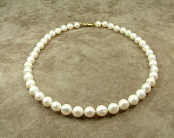White Pearl Necklace 8.5 - 9.5 mm (Κολιέ με Λευκά Μαργαριτάρια 8.5 - 9.5 mm)