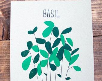 "Basil Kitchen Letterpress Print - 8"" x 8"""
