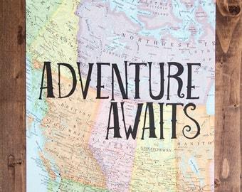 "Western Canada Map Print, Adventure Awaits, Great Travel Gift, 8"" x 10"" Letterpress Print"
