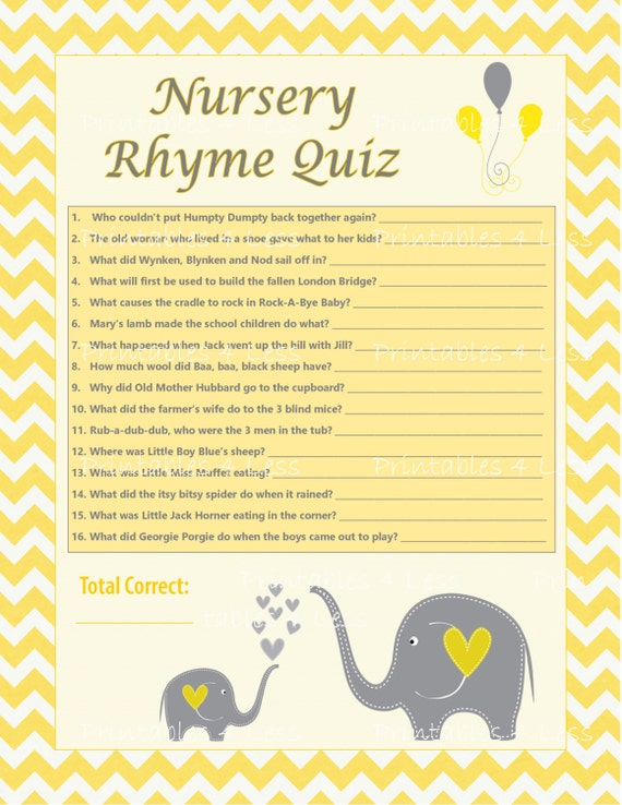 Baby Shower Theme Quiz ~ Diy nursery rhyme quiz chevron baby shower activity