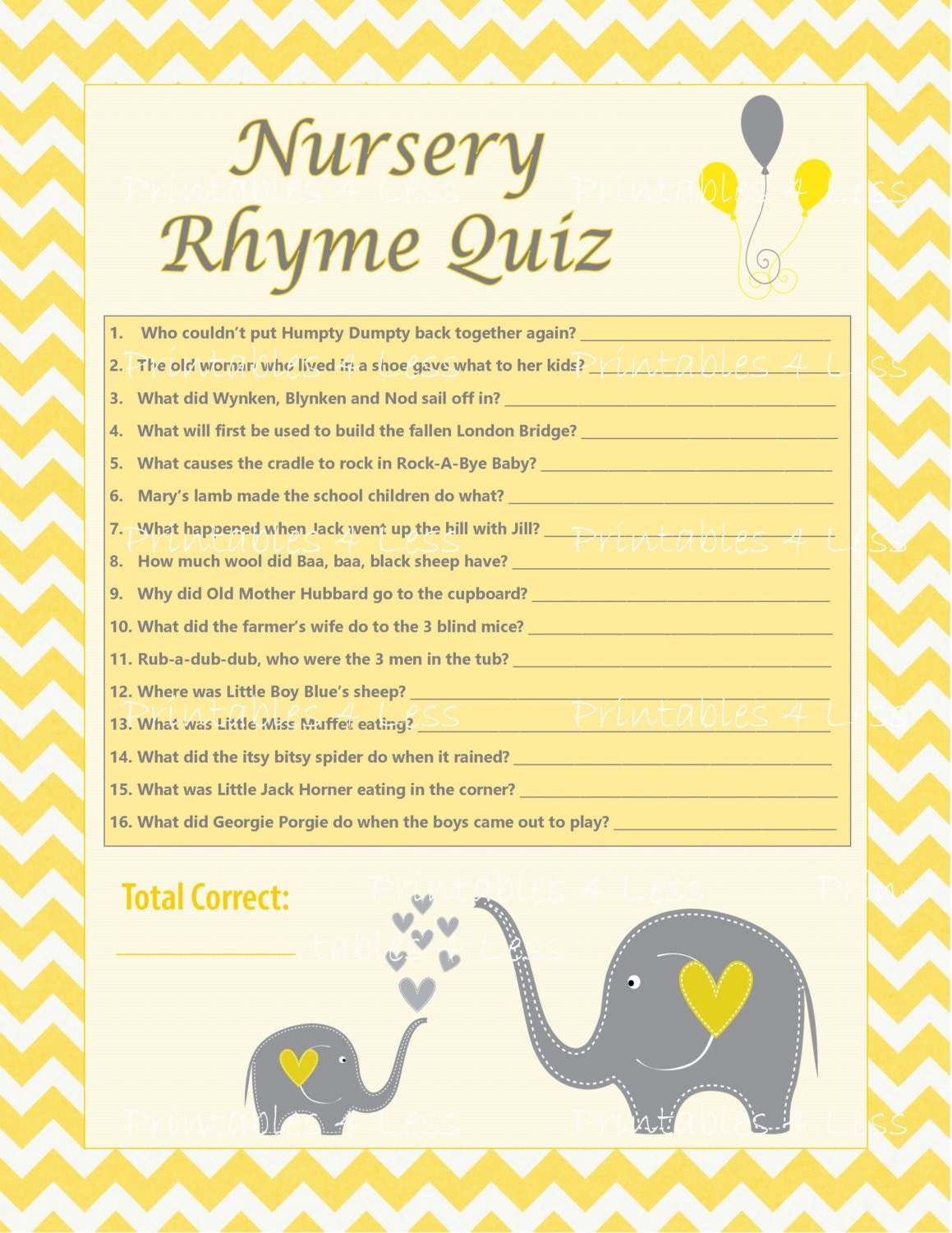 diy nursery rhyme quiz chevron baby shower activity chevron