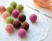 Crochet beads 15 mm, Set 13 pcs, wood round beads,  green peach pink brown, handmade, ash wood,
