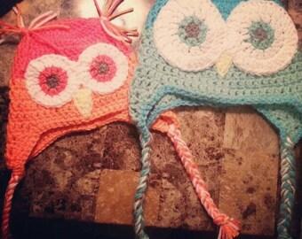 Crochet owl/bird beanie