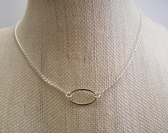 Delicate Sterling Silver Oval Necklace / Layering Necklace / Silver Necklace / Dainty Sterling Silver Necklace  N-88