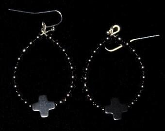 Hematite bead & Cross hoop earrings